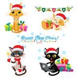 Kotów boże narodzenia Gemowi Set Bożenarodzeniowi koty Wektorowi Kreskówka koty Z Wakacyjnymi prezentami Zdjęcie Stock