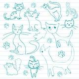 kotów doodles Ilustracji