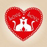 kotów dzień rysunku miłości miłość valentine Zdjęcia Royalty Free
