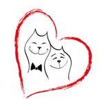 kotów dzień rysunku miłości miłość valentine Obrazy Stock