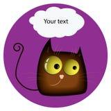 kot śmieszne z żółtymi rozjarzonymi realistycznymi oczami i mowa bąblem royalty ilustracja