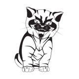 Kot czarna sylwetka na białej wektorowej ilustracji ilustracji
