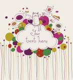 Kot i herbata ilustracji