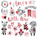 Kot i pies z sercem i miłością ilustracji
