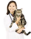 Kot i weterynaryjna lekarka Fotografia Royalty Free