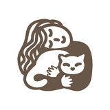 kot jej kobieta również zwrócić corel ilustracji wektora Obraz Royalty Free