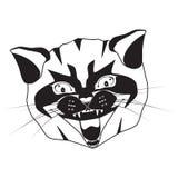 Kot kierownicza czarna sylwetka na białej wektorowej ilustracji royalty ilustracja
