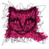 kot Koszulek grafika Prosty rysunkowy liniowiec Zdjęcie Stock