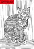 Kot książka Colorized wzorów kot siedzi poważnie i patrzeje Obraz Royalty Free