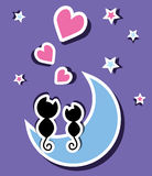 kot księżyc dwa Zdjęcia Stock
