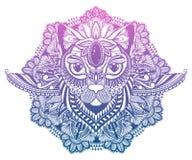 Kot mistyczka i mandala tatua? Gradientowy pastelowy kolor w bia?ym tle Dekoracyjny graficzny rysunek royalty ilustracja