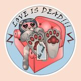 Kot Nastya cierpi od za miłością royalty ilustracja