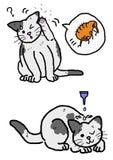 Kot pchły eksterminacja royalty ilustracja