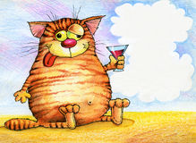 kot pijąca szklana czerwień ilustracji