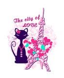 kot postać przed wieżą eiflą ilustracji