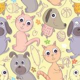 Kot Psi Bezszwowy Pattern_eps Zdjęcie Royalty Free