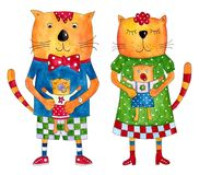 kot rodzina s ilustracji
