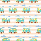 Kot rodzina w Modnisia Samochód dostawczy Wektor ilustraci dla dzieciak odzieży royalty ilustracja