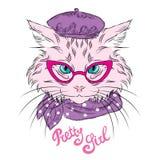 Kot rysowali ręką (1) kreskówki kota ilustracyjny serii wektor Kot z szkłami Obrazy Royalty Free
