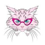 Kot rysowali ręką (1) kreskówki kota ilustracyjny serii wektor Kot z szkłami Zdjęcia Stock