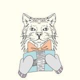 kot rysująca ręka Fotografia Royalty Free