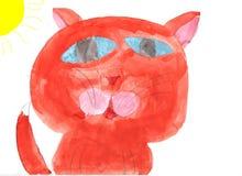 kot rysująca ręka Obraz Royalty Free
