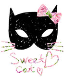kot słodkie kota Akwarela kota illustration/Urodzinowa karta Koszulka druk Zdjęcia Royalty Free