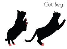 kot sylwetka wewnątrz Błaga pozę royalty ilustracja