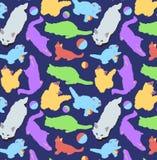Kot sztuki wektoru wzór śliczni barwioni koty dla tapety, tkaniny Zdjęcie Stock