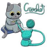 Kot szydełkuje amigurumi lalę royalty ilustracja