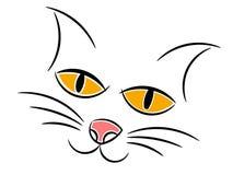 Kot twarzy portreta szkicowy odosobniony Fotografia Stock