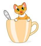 Kot w filiżance royalty ilustracja