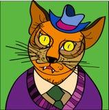 Kot w kapeluszu royalty ilustracja