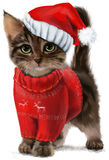 Kot w odzieżowym akwarela obrazie Fotografia Stock