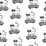 Kot w okularach przeciwsłonecznych na deskorolka bezszwowym wzorze Ręka rysujący vec ilustracji