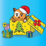Kot w Santa kapeluszu z prezentem Royalty Ilustracja