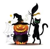 Kot z garnkiem ilustracja wektor