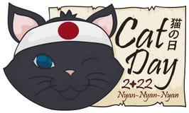 Kot z Japońskimi bandanami i powitanie ślimacznica dla kota dnia, Wektorowa ilustracja royalty ilustracja