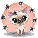 Kot z kwiatami royalty ilustracja
