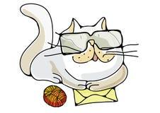 Kot z listem Obrazy Stock