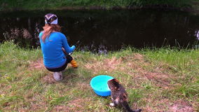 Kot z pazura chwyta ryba od pucharu, kobieta połów przy stawem zbiory wideo