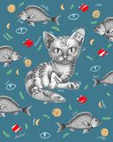 Kot z rybą wokoło ilustracja wektor