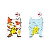 Kot z ryba ilustracji