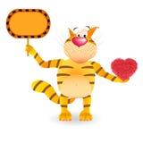 Kot z sercem i znak w jego łapach Zdjęcia Stock