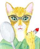 Kot z szkłami Zdjęcie Stock