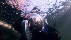 Kota akwalungu nurek na tle podwodnym odbicia światło słoneczne zdjęcie wideo