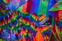 Close up shot of colourful kites stock photos