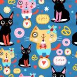 kota bezszwowy śmieszny deseniowy ilustracja wektor