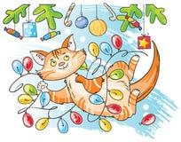 kota bożych narodzeń ilustracyjna kiciuni śniegu płatka śniegu zima Obraz Stock