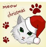 kota bożych narodzeń ilustracyjna kiciuni śniegu płatka śniegu zima Obrazy Royalty Free